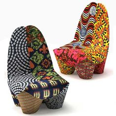an African-inspired armchair by Swiss designer Philippe Bestenheider. The chair's form is based on African wood carvings and the upholstery is based on Senegalese patchwork fabrics. Moroso Furniture, Funky Furniture, Furniture Design, Furniture Ideas, Colorful Furniture, Vintage Furniture, Outdoor Furniture, African Interior, African Home Decor