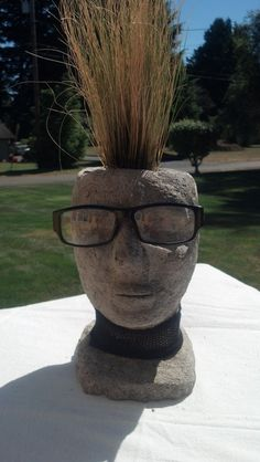Hypertufa Cement Head Planter by Snohomish artist Carrie Milburn