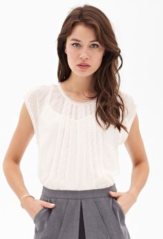 Pleated Swiss Dot Top #F21Contemporary