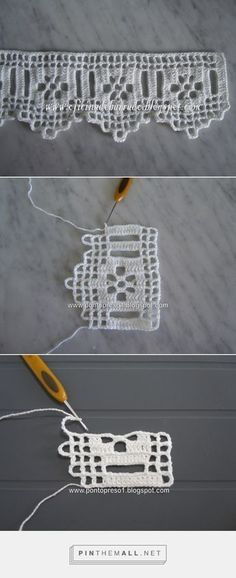 Filet crochet lace edging with flowers and points. The large beading allows for insertion of a wide ribbon and the ribbon's colour will show behind the flower. No pattern, but can figure it out from the picture Col Crochet, Crochet Lace Edging, Crochet Borders, Crochet Home, Thread Crochet, Crochet Trim, Irish Crochet, Crochet Doilies, Crochet Stitches