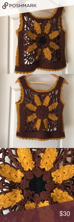 Vintage Sunflower Crochet Vest Top This thing is SO 60s! It's vintage, no tags, fits like a large and has stretch. So cute layered! Great vintage condition. Vintage Tops Tank Tops