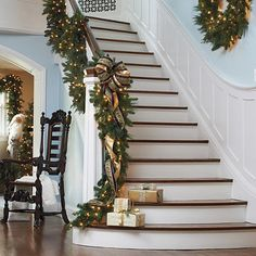 Ideal for indoor or outdoor decor, the Majestic Double-sided Pre-lit Garland drapes elegantly atop your mantle, down a staircase or above a doorway and gently flickers to create a festive ambiance. Pre Lit Garland, Light Garland, Winter Christmas, Christmas Home, Christmas Ideas, Merry Christmas, Indoor Christmas Decorations, Christmas Staircase Decor, Garland For Staircase