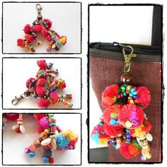 Colorful Little Claw Pom Poms Keychain Zip Pull Bag Accessory Handmade | GoldenWorld - Accessories on ArtFire
