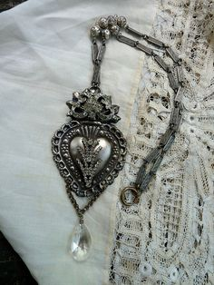 Ex Voto Sacred Heart Necklace, Lovely Repousse French Heart with Stunning Paste and Prong Set Rhinestones,
