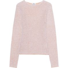 ACNE STUDIOS Valla Two Face Beige // Mohair blend knit sweater (5,880 EGP) ❤ liked on Polyvore featuring tops, sweaters, crew neck top, fitted tops, pink sweater, pink top and knit top