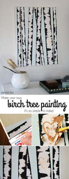 DIY Birch Tree Painting - this wall art is so, so easy to make and looks great! (The trick is using an old credit card to apply paint to the canvas!) Get the full tutorial