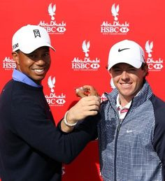 Rory McIlroy and Tiger Woods together at the Abu Dhabi HSBC Golf Championship on January 15, 2013 in Abu Dhabi .