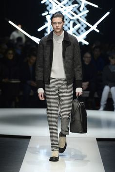 Wool and hemp jacket with check pattern and contrasting details; cashmere sweater, calfskin holdall with logo #CanaliFW15 #FW15 #mfw #moda #menswear