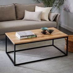 Box Frame Coffee Table - Raw Mango    *you could put storage boxes or baskets under this type of table