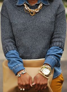 A/W12 trend: denim shirt peeking out of cropped knits and adorned in jewels