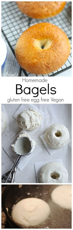 Gluten Free Bagels (Vegan Egg Free)- Chewy and dense, you'll never know these bagels are gluten free and egg free. PetiteAllergyTreats Plant-based, vegan, vegetarian, and gluten-free recipes Bagels Sans Gluten, Foods With Gluten, Vegan Foods, Healthy Foods, Gluten Free Cooking, Dairy Free Recipes, Vegan Recipes, Gluten Free Vegan, Diabetic Recipes