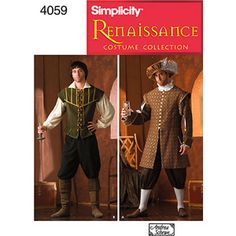 Simplicity Sewing Pattern 4059 Men Costumes, A (XS-S-M-L-XL) / Simplicity-Men'S Renaissance Costumes. Number Of Looks Designed And Manufactured In The Usa. Men costumes in size a (xs-s-m- Costume Renaissance Homme, Renaissance Men, Medieval Costume, Renaissance Clothing, Elizabethan Costume, Italian Renaissance, Hat Patterns To Sew, Costume Patterns, Simplicity Sewing Patterns