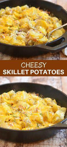 New Ideas Breakfast Skillet Potatoes Comfort Foods Potato Sides, Potato Side Dishes, Vegetable Side Dishes, Vegetable Recipes, Skillet Potatoes, Cheesy Potatoes, Side Dish Recipes, Dinner Recipes, Dinner Ideas