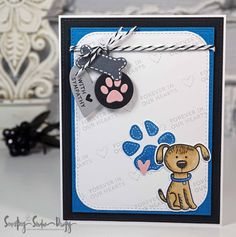 Sweet doggy sympathy card created with Simon Says Stamp clear stamps and dies and My Favorite Things dies. Secretbees Studio: Always Hard to Say Goodbye..