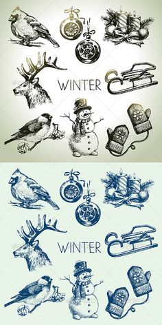 Winter Christmas Hand Drawn Set  #GraphicRiver         Set of hand drawn vintage winter icons.   This illustrations can be used in design of printed materials (brochures, invitations, postcards), in web design etc. No bitmaps, only vector used.   Zip file contains fully editable EPS 8 vector file, AI CS vector file and high resolution pixels RGB Jpeg image.   Contains the author's non-editable text.                     Created: 7 December 13