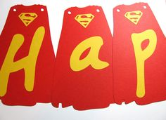 Banner -Superman Cape - Semi DIY/ birthday banner/party banner/ party supply. $12.00, via Etsy.