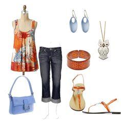 Orange and Blue, created by jklmnodavis on Polyvore
