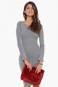 Shay Ribbed Midi Dress in Heather grey | Necessary Clothing