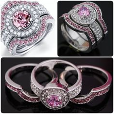 P1inked4evr.        Pink cubic zirconia ring The main color is pink but it also has clear cubic zirconia on the side of the ring and surrounding the pink cubic zirconia stone. The ring is white gold plated and is a size 6 Jewelry Rings