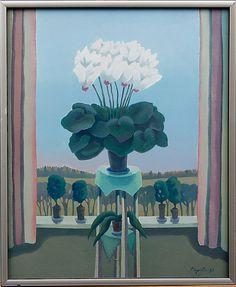 Pirkko Lepistö: Valkoinen syklaami, 1987, öljy kankaalle, 62x50 cm - Bukowskis