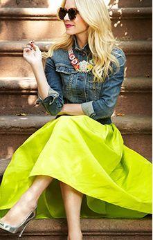 1cdf8946fc9 Neon maxi + denim jacket + bold accessories. Passion For Fashion