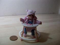 dolls house ooak sculpt baby girl + baby walker, 1/12 scale