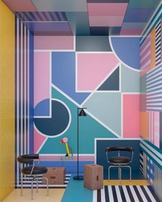 Today, we get some inspiration from Masquespacio and their stunning colorful interior design projects to get you the memphis design inspired living room you've Interior Rendering, Cafe Interior, Colorful Interior Design, Colorful Interiors, Wall Design, House Design, Spanish Interior, Spanish Design, Memphis Design