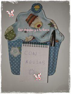 CON AGUJAS Y A LO LOCO: Tutorial Cupcake porta notas...