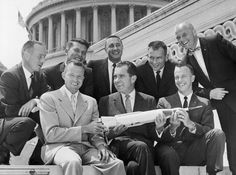 the seven Mercury astronauts confer with then-Vice President Richard M. Nixon on the steps of the U.S. Capitol building in Washington D.C. ... as president ten years later Nixon would talk on the telephone to U.S. astronauts Neil Armstrong and Buzz Aldrin on the surface of the moon from the Oval Office of the White House before resigning in disgrace ... by that time America had abandoned the moon program, even though all the hardware and development had already been paid for