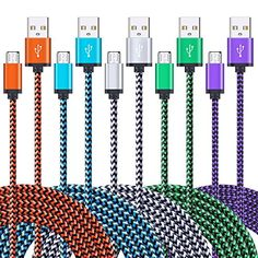 Android Charger Cable, 5 Pack 6FT Super Durable Nylon Braided Micro USB Cable High Speed Charging and Sync Cord for Samsung Galaxy S7/S6, LG G4, HTC, Sony, Motorola, Blaceberry, Nokia and More #Android #Charger #Cable, #Pack #Super #Durable #Nylon #Braided #Micro #Cable #High #Speed #Charging #Sync #Cord #Samsung #Galaxy #S/S, #HTC, #Sony, #Motorola, #Blaceberry, #Nokia #More