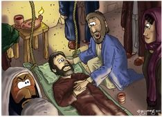 Jesus heals a paralytic. Scene 05 - Jesus heals the paralysed man. A scene from Mark chapter Gospel Bible, Bible Verses, Bible Cartoon, Bible Stories For Kids, Jesus Heals, New Testament, Sunday School, Scene, Healing