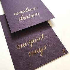 plum and gold calligraphy place card - fall wedding - rehearsal dinner - wine place cards -winery wedding Gold Calligraphy, Beautiful Calligraphy, Wedding Rehearsal, Rehearsal Dinners, Got Married, Getting Married, Wedding Name Cards, Plum Wedding, Wedding Hands