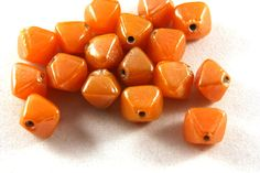 24x Vintage Orange Glass Octahedral 4 Point Beads by DixieTrinkets