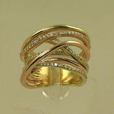 Two tone 14K diamond fashion ring GP