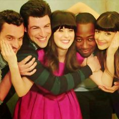 Jake M. Johnson, Max Greenfield, Zooey Deschanel, Lamorne Morris and Hannah Simone- Cast of New Girl. Love them!