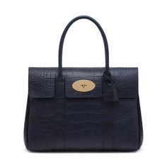 Bayswater in Croc Print Leather Luxury Handbags, Midnight Blue, Leather Craft, Crocs, Satchel, Women Wear, Pouch, Shoulder Bag, Tote Bag