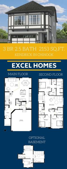 Home floorplan with basement. View more of this home: Kendrick in Chinook Gate Floor Plans 2 Story, Small House Floor Plans, House Plans, Small House Design, Dream Home Design, 3 Bedroom Home Floor Plans, Build Your House, Building A New Home, Story House