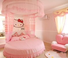 Hello Kitty bedroom, so cute for a little girls room!