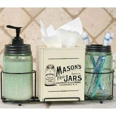 The Country Village Shoppe features Mason Jar Bathroom Caddy from Colonial Tin Works.
