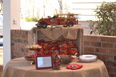 Vintage fire truck party