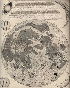 Eustachio Divini (1610-1685)  Map of the Moon, 1649 (late 19th century reprint from original copper plate)  Osimo, Biblioteca Comunale    Numerous details in this map suggest that Divini drew his inspiration from the lunar maps of Hevelius. Jupiter, Saturn, Venus and the Moon are depicted in the margins.