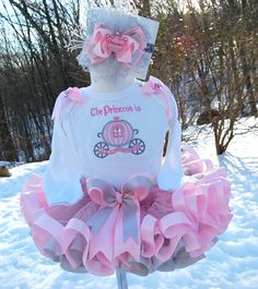 Princess Carriage Birthday Ribbon Trimmed Tutu set with Matching Bow and Accessories. $86.00, via Etsy.