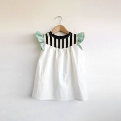 girls' cotton dress with stripe detail