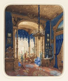 """Drawing, """"Blue Interior"""", 1877. Brush and watercolor, gouache and gold paint on white wove paper.Courtesy of the Cooper-Hewitt Nation Design Museum"""