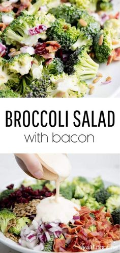 This broccoli salad with bacon is dressed up with cranberries, sunflower kernels and a delicious homemade dressing. It is super easy to make and always a crowd pleaser. It's the perfect side dish to bring to any potluck. recipes with chicken Salad Recipes With Bacon, Chicken Salad Recipes, Bacon Recipes, Egg Recipes, Cooking Recipes, Healthy Recipes, Vegetable Salad Recipes, Side Salad Recipes, Recipies