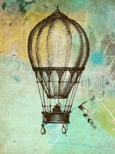 old hot air balloon sketch