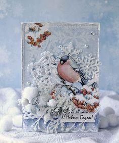 From Anastasiya Genechko, aka Nastica, in Minsk, Belarus. Create Christmas Cards, Holiday Cards, Winter Karten, Karten Diy, Theme Noel, Artist Trading Cards, Winter Cards, Card Making Inspiration, Pretty Cards