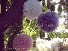 Pompones Decorativos en blanco, rosa y lila Boda Campestre Vintage -  Vintage Wedding