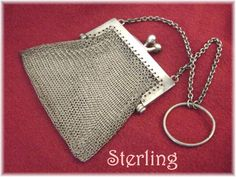 Louis Stern ~ Solid Sterling Silver Mesh Coin Purse with RARE Finger Ring Chain  @@ FREE SHIPPING @@