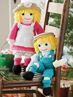 """Polly and Wally will be forever friends for any little boy or girl. These 2 dolls are made using light- #3 and worsted- #4 weight yarns. Stuffed with fiberfill, they each measure 15"""" tall. Skill Level: Intermediate http://www.maggiescrochet.com/products/polly-wally-rag-dolls"""